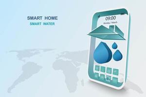 slimme woning met watercontrole vector