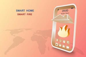 slim huis met brandalarm vector