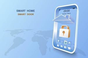 smart home met deurbediening vector