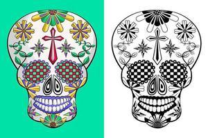Mexicaanse suikerschedel die op groen en wit wordt geplaatst