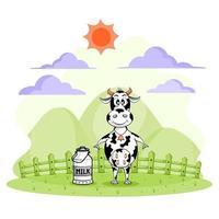 cartoon van koe en melk emmer op boerderij vector