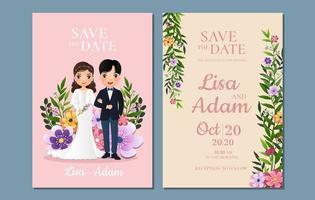 bloemen sparen de datumkaarten met bruid en bruidegom vector
