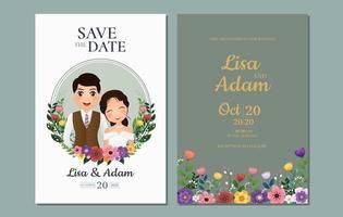 Bewaar de datum met bruid en bruidegom in cirkelframe