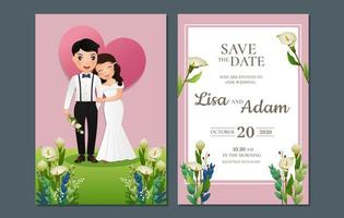 bewaar de datum met bruid en bruidegom in gras vector