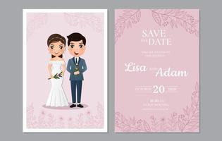 roze gebladerte bewaar de datumkaart