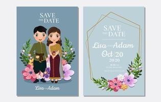 de datum-kaartje opslaat met Thaise bruid en bruidegom vector