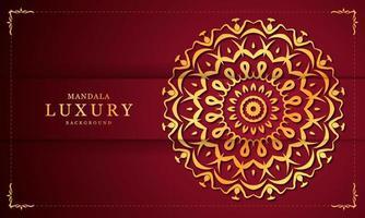 gouden en rode bloemen luxe decoratieve mandala vector