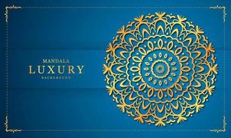 gouden en blauwe luxe mandala achtergrondontwerp vector