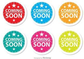 Starred Coming Soon Kleurrijke Pictogrammen Set