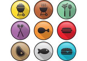 Vlakke camp voedsel vector iconen