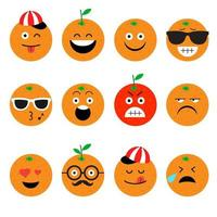 oranje fruit emoji set vector