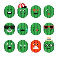 watermeloen fruit emoji set vector