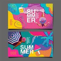 zomer kaart ingesteld met vrouw op strand