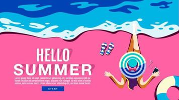 top-down mening van vrouwenzitting op strand