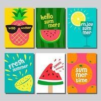 kleurrijke zomer fruit kaartenset vector