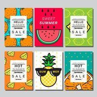 kleurrijke zomer fruit kaart set met kopie ruimte vector