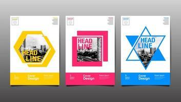 lay-out ontwerpsjabloon met kleurrijke vormen vector