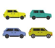 set van kleurrijke auto iconen