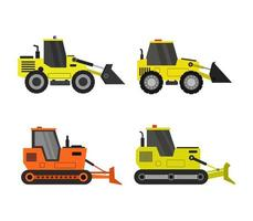 set van bulldozer iconen