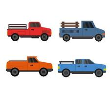 set van pick-up truck iconen vector