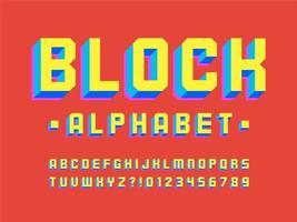kleurrijke 3D-blok alfabet vector