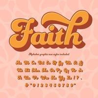 geloof 3d retro hippie alfabet vector