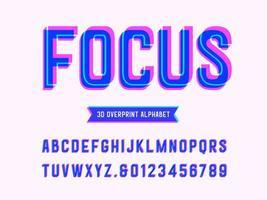 overdruk 3D-letters en cijfers vector