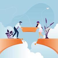 zakelijke team bouwen brug over klif kloof