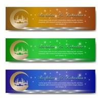 ramadan groet banner set met maan moskee vector