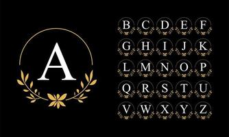 gouden blad krans alfabet set vector