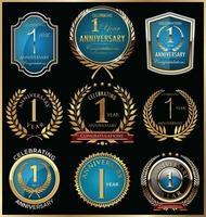 Badge-sjablonen voor 1e verjaardag vector