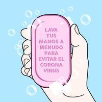 hand met stuk zeep met instructies in het Spaans