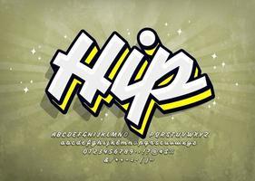 hiphop graffiti lettertype met hoogtepunt en schaduw vector