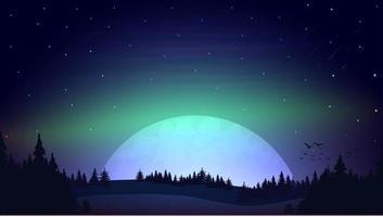 nacht landschap met grote maan aan de horizon vector