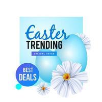 trending Pasen-ontwerp met blauwe eieren en bloemen vector