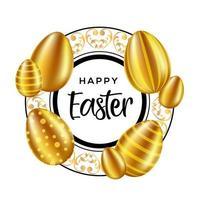 Happy Easter tekst in sierlijke cirkelframe met eieren vector