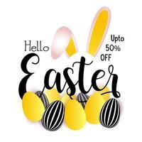 Pasen-verkoopontwerp met konijnenoren en eieren vector