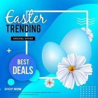blauwe geometrische Pasen verkoop poster vector