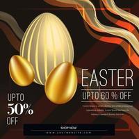 Pasen verkoop poster met gebogen lijnen en gouden eieren vector