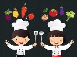 jongen en meisje chef-kok onder groenten vector