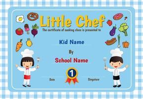 blauw geruit diploma met chef-kokkinderen vector
