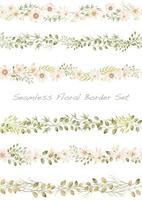 elegante naadloze aquarel bloemen grens set