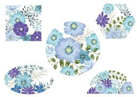 set van blauwe aquarel bloemen achtergronden