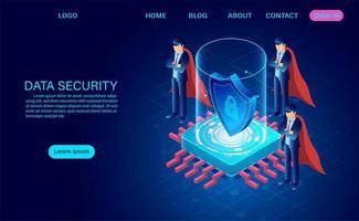 zakenlieden in capes die gegevens beschermen tegen aanvallen