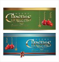 merry christmas blauwe en groene banner set vector
