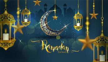 ramadan kareem poster met sierlijke wassende maan vector