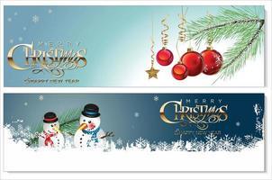 set van besneeuwde kerst banners vector