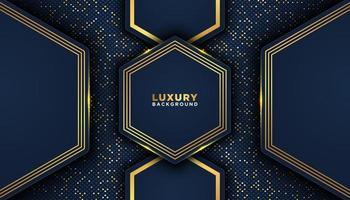 geometrische donkerblauw met gouden versiering vormen luxe achtergrond vector