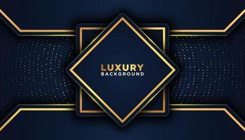 geometrische 3d donkere luxe achtergrond met gouden accenten vector