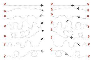 het vliegtuig volgt de stippellijn